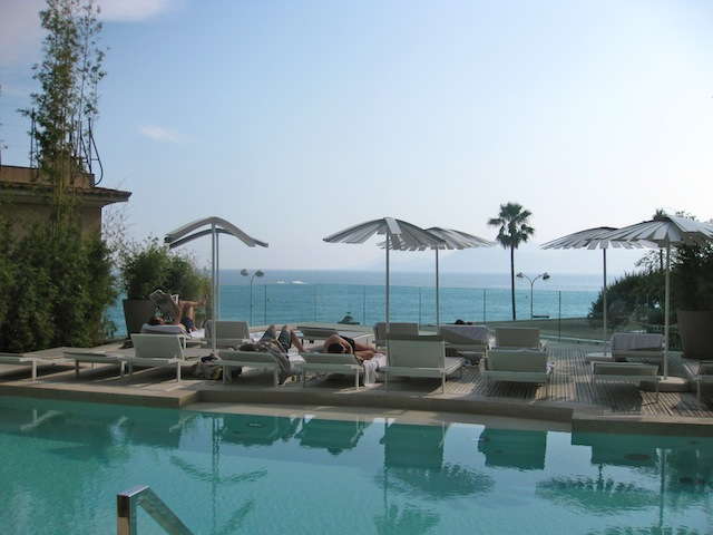 View of Cannes from pool at Radisson Blu 1835 hotel