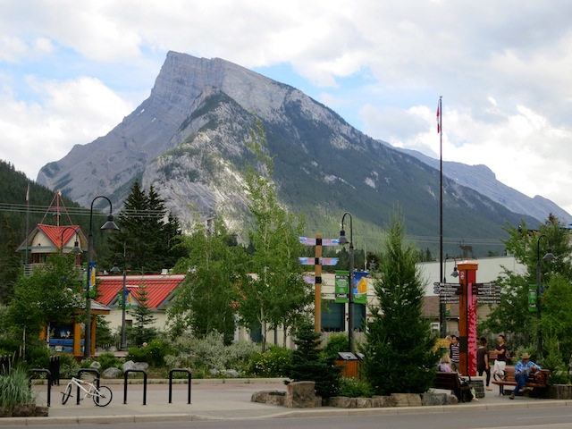Downtown Banff and Rundle Mountain