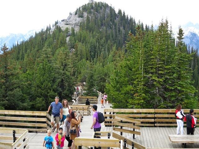 The boardwalk on Sulphur Mountain in Banff, Canada