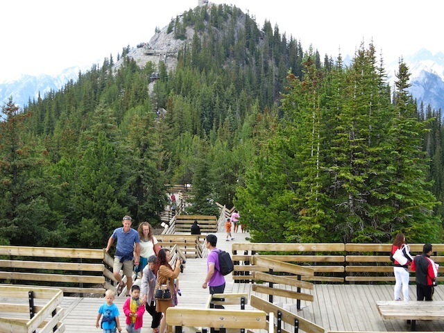 The boardwalk on Sulphur Mountain in Banff, Canada