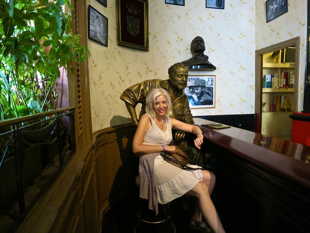 El Floridita Havana bar drinking with Hemingway statue