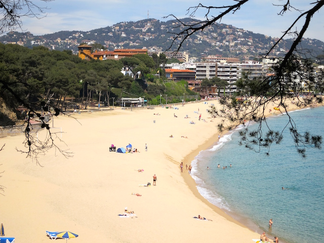 Fenals Beach one day in Lloret de Mar Costa Brava Spain