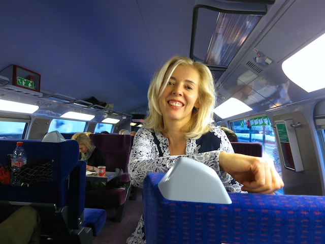 WanderingCarol on Paris to Barcelona TGV train
