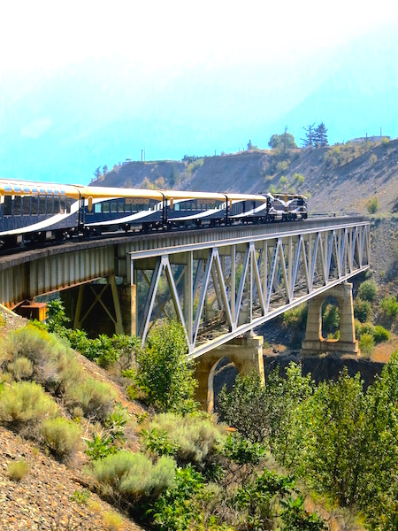 Romantic train travel, Rainforest to Gold Rush route Rocky Mountaineer Fraser Canyon