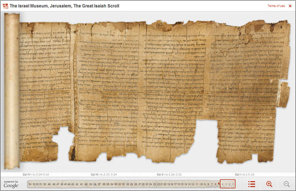 Dead Sea Scrolls, Isaiah Scroll Photo from Israel Gov't