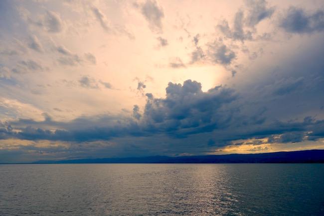 Hilton Evian-les-Bains review, sunset Lake Geneva