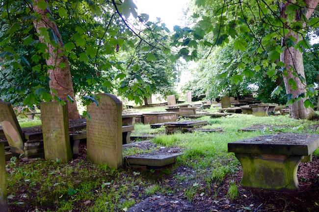 Bronte sisters parsonage graveyard Haworth England