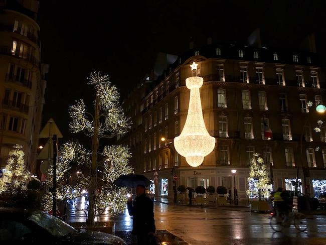 Christmas lights in romantic Paris at Dior