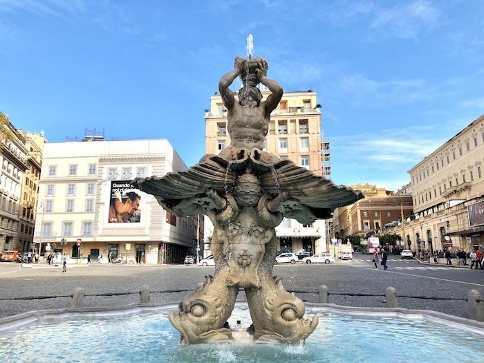 Bernini Triton Fountain in the Piazza Barberini in Rome