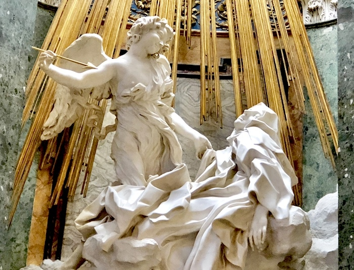 Bernini sculpture in Rome of Ecstasy of St Theresa in the church of Santa Maria della Vittoria