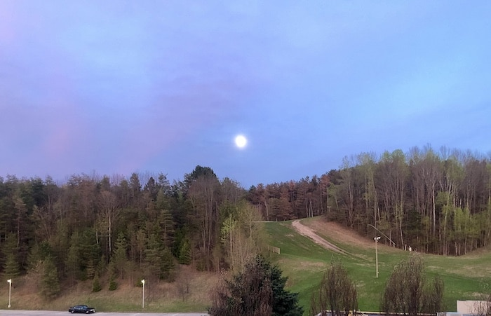 Full moon and dusky sky at Hockley Valley Resort