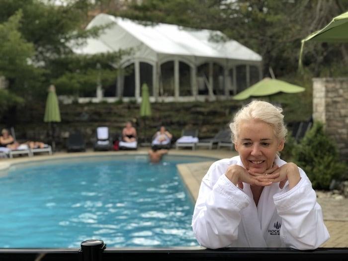 Wandering Carol at the outdoor pool at Hockley Valley Resort
