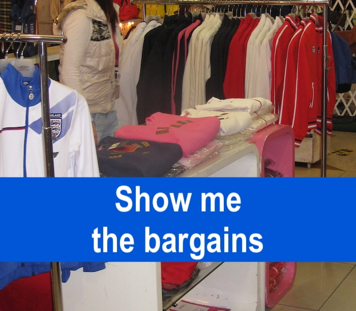 Hong Kong outlet store with text overlaid that says, Show me the bargains
