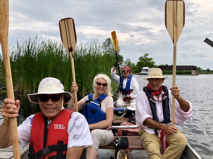 Paddlers on a Canoe Tour with Rideau RoundTable at Smiths Falls Ontario