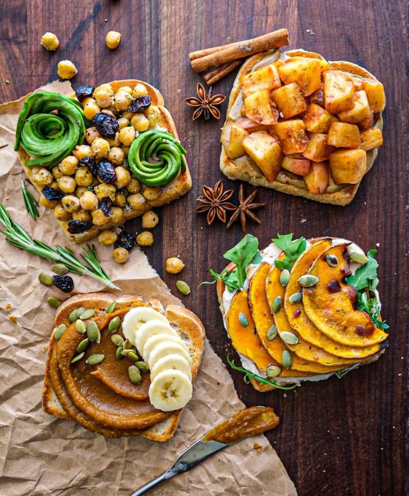 Vegan fall toast four ways recipe