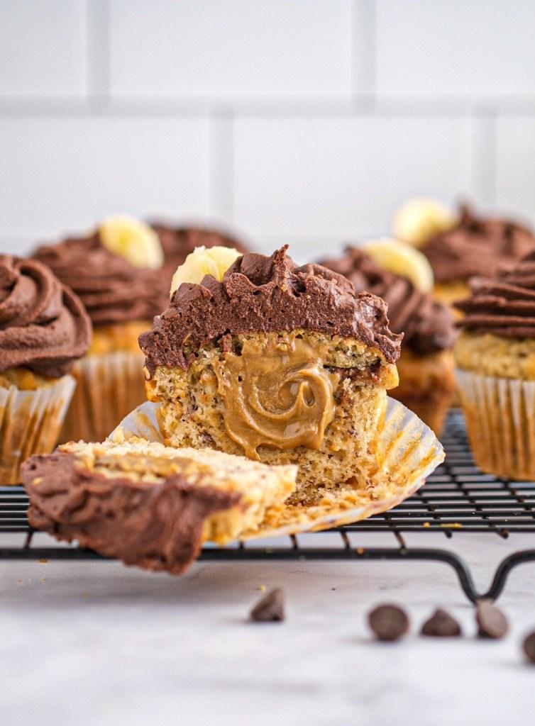 Vegan Sunbutter banana cupcakes with chocolate ganache recipe