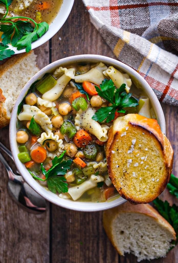 Vegan chickpea noodle soup recipe