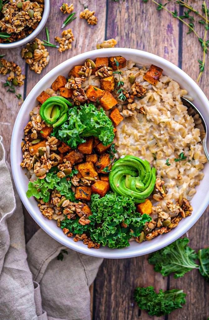 Savory oatmeal with butternut squash  buckwheat granola recipe