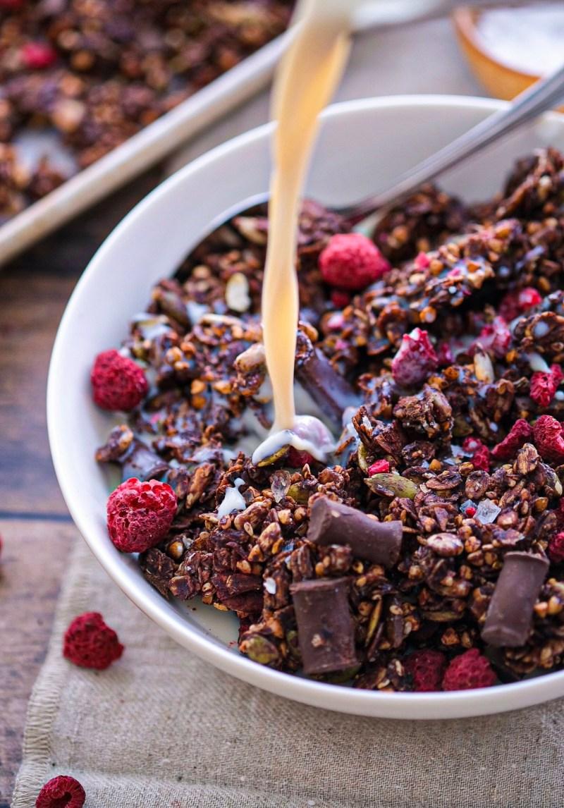 Nut free raspberry chocolate chunk granola