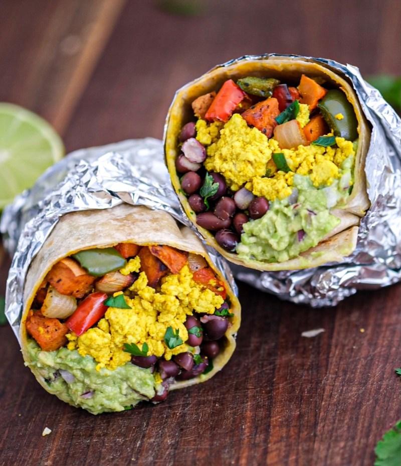 Vegan sweet potato hash tofu scramble breakfast burrito