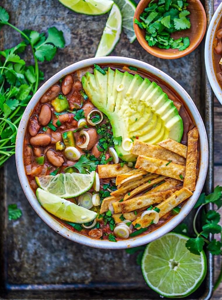 Vegan Pinto Bean Tortilla Soup