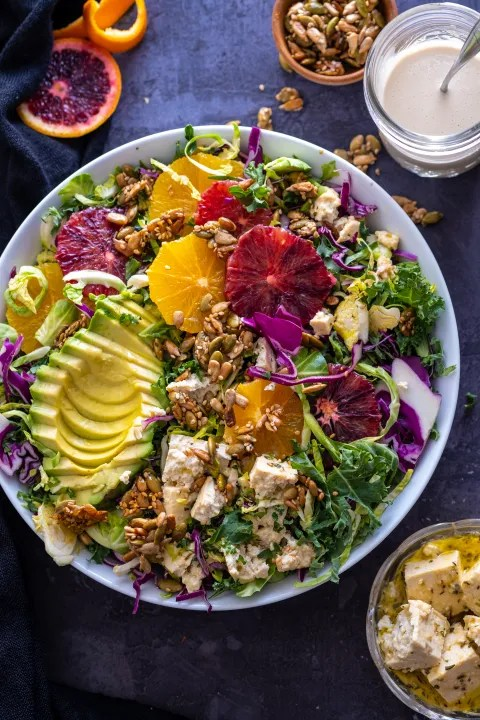 Superfood citrus salad with tofu feta and crunchy seeds