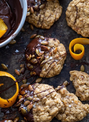 orange scented oatmeal cookies with toasted pumpkin seeds