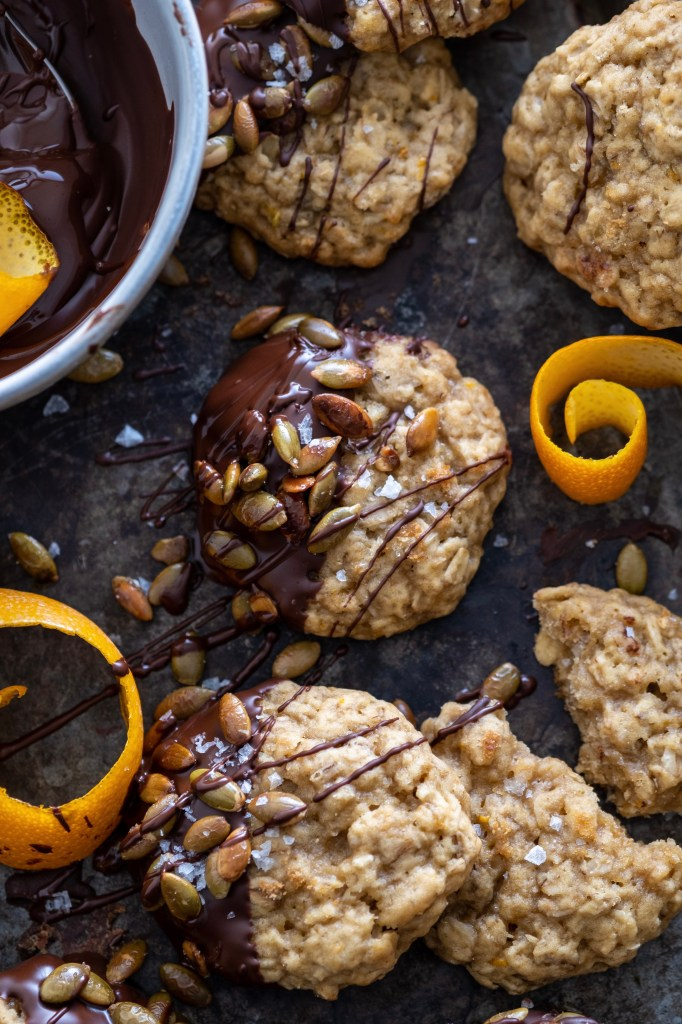 Vegan Orange Scented Oatmeal Cookies with Toasted Pumpkin Seeds