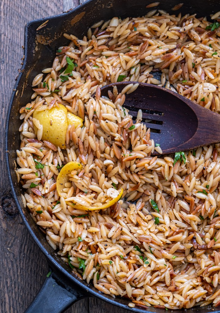 Toasted lemon pepper orzo with crispy chickpeas