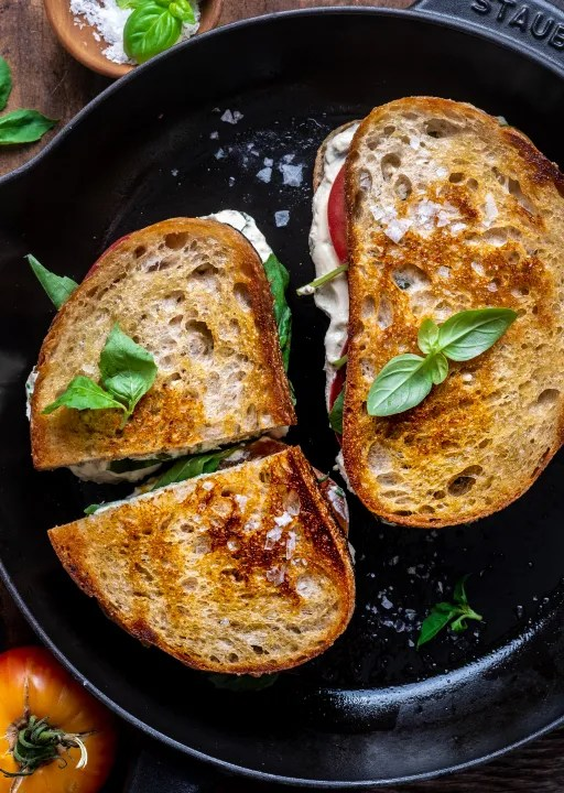 Vegan herbed ricotta grilled cheese