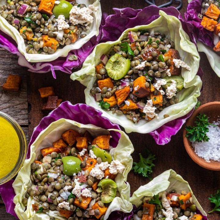 Spiced lentil salad lettuce wraps