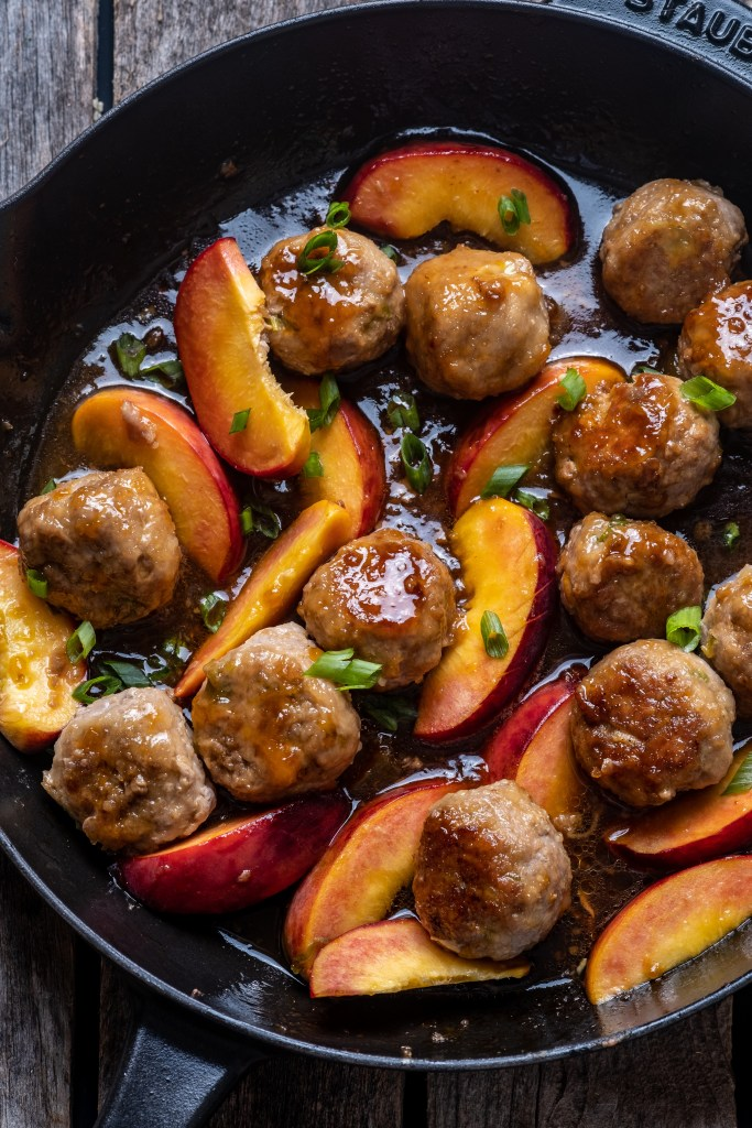 Ginger Peach Meatballs with Coconut Rice