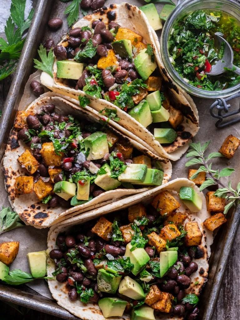 Chimichurri Black Bean Breakfast Tacos