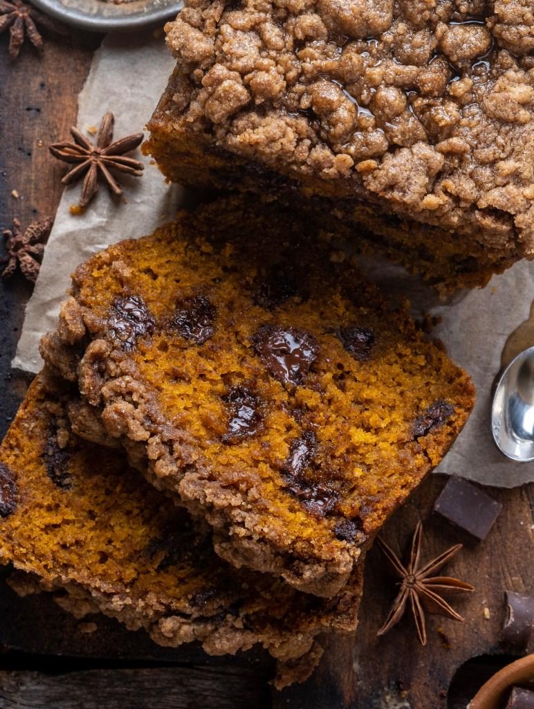 Chocolate chip Pumpkin Streusel bread