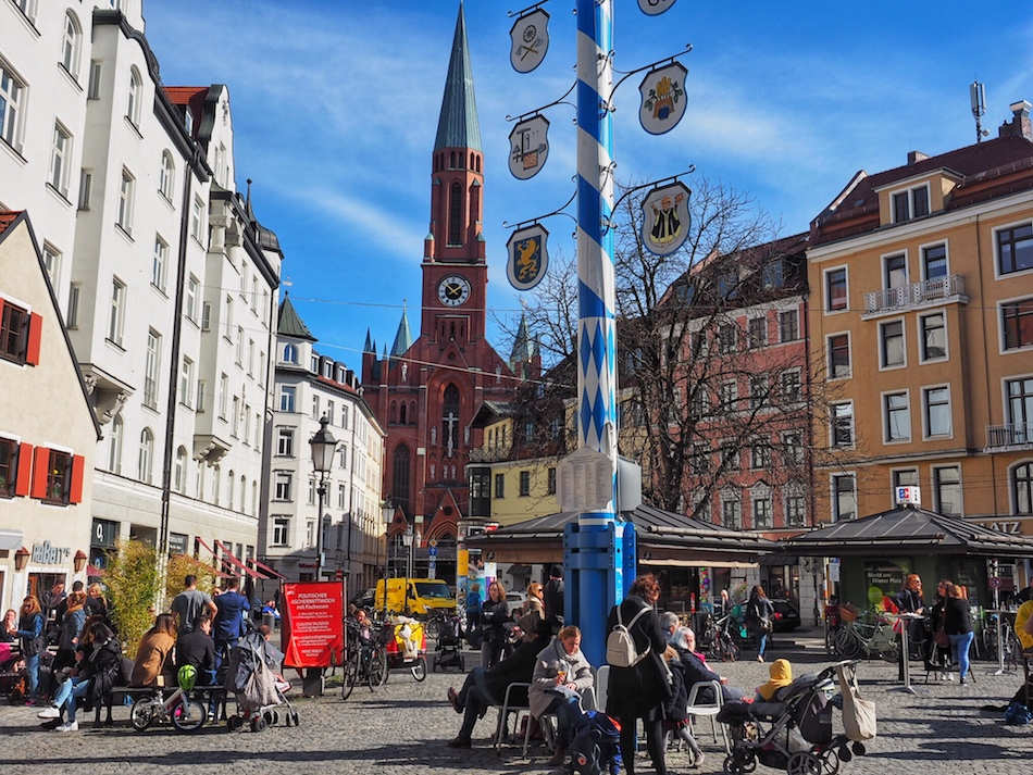 Haidhausen-Wienerplatz-Bavarian-May-pole-church-Munich-Germany