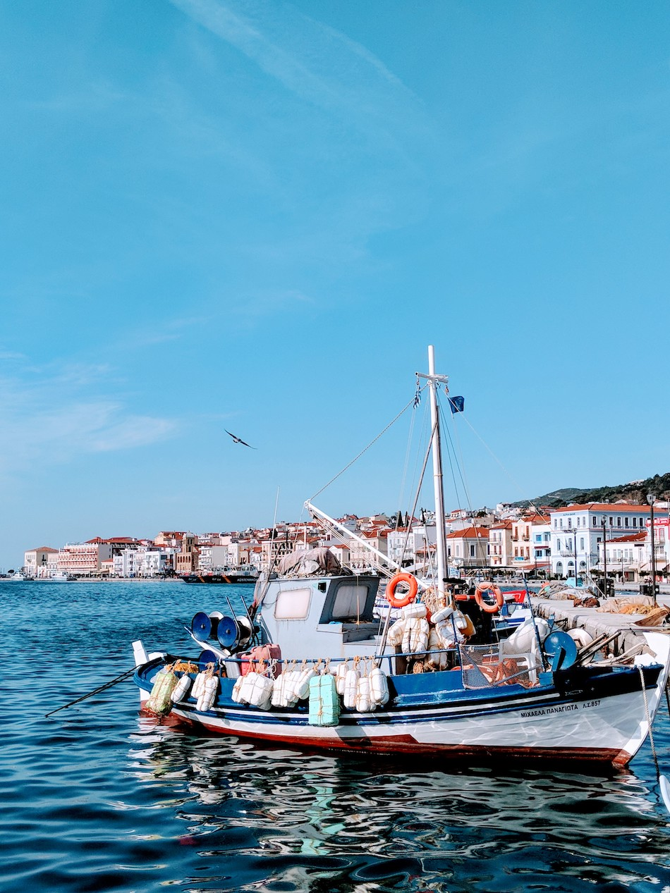 Working in Samos refugee camp in Greece. Fishing boats and harbor on Samos Greece.