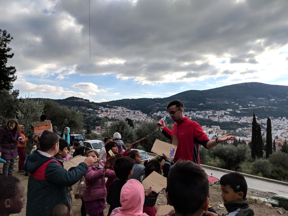 kids activities in a refugee camp. Samos Volunteers.