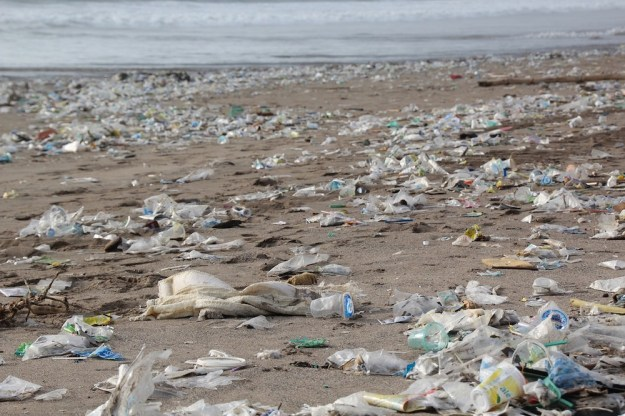 plastic pollution and waste at the beach