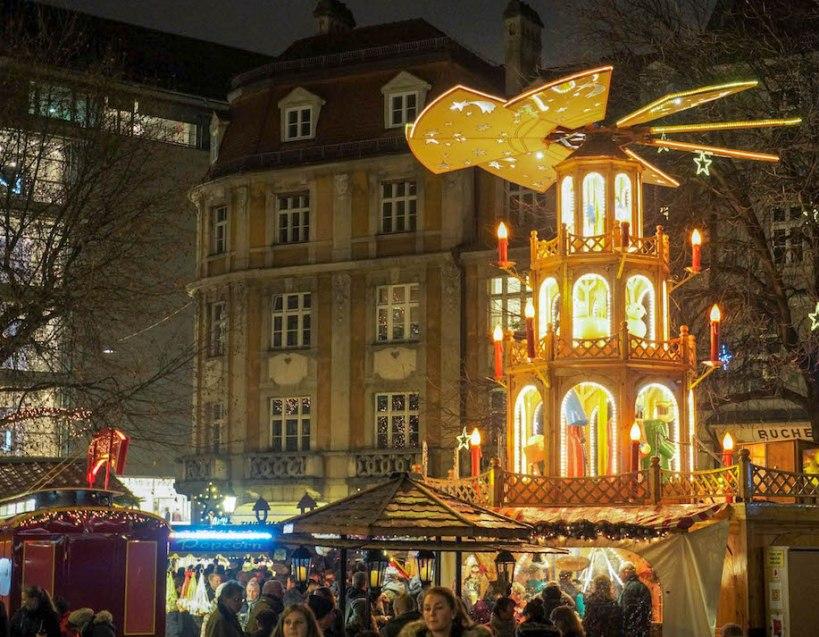 Munich Christmas Market Square of Stars Christmas pyramid