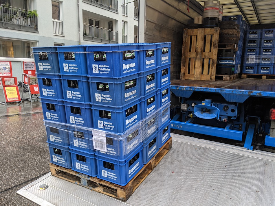 Crates of German beer ready for recycling