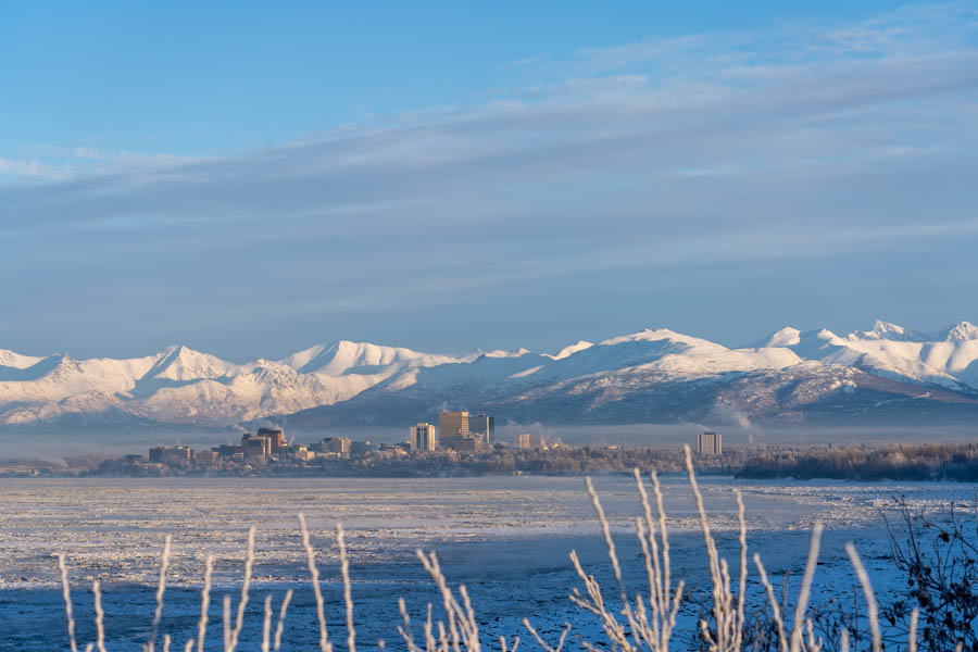 anchorage skyline in winter