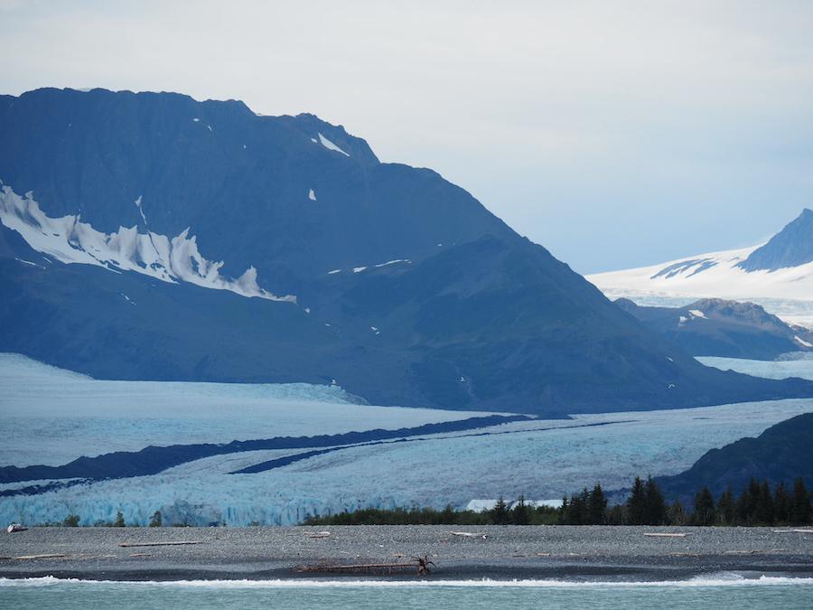large glacier calving into the ocean during a glacier cruise at resurrection bay alaska