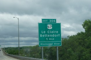 """This sign is on the Illinois side of the Mississippi River. Le Claire is the location of Antique Archaeology on """"American Pickers"""""""