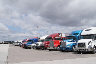 A few of the trucks at the World's Largest Truckstop. There is parking for 800 trucks.
