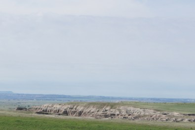 View of the Badlands from scenic overlook on I-90
