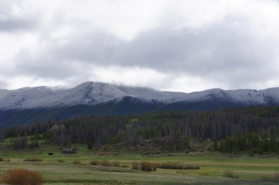 It was snowing over the mountains between Butte and Great Falls