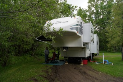 Our campsite at Northland RV Park in Prince George, BC