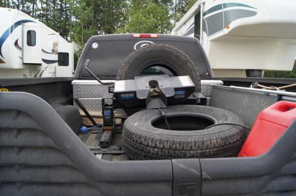 We're ready for any emergency with spare tires for the truck and camper and 5 gallons of diesel fuel