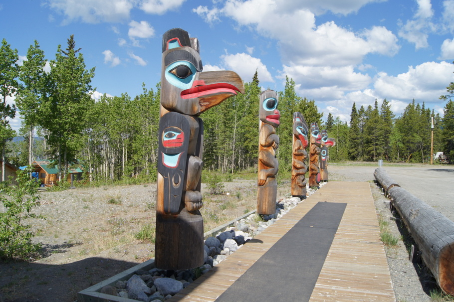 These carvings at the Teslin Tlingit Heritage Centre represent the Wolf, Eagle, Frog, Beaver and Raven clans