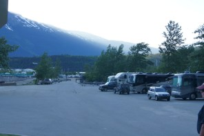 Our campsite is in the parking lot at the Skagway Harbor